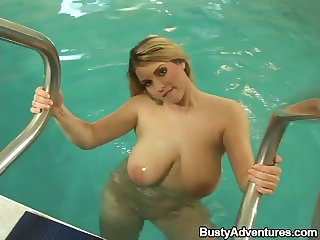 Marvelous huge breasted MILF Liana leaves the pool to fuck mad for orgasm