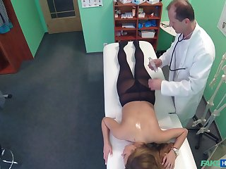 Busty Candy Alexa allows her doctor to touch her everywhere