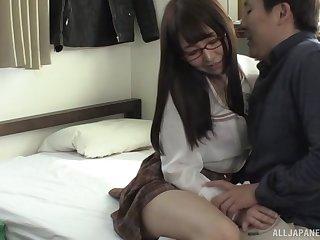 Japanese girlfriend Katou Momoka with glasses gives amazing head