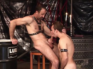 Twink loves to gag with his master's dick before trying anal